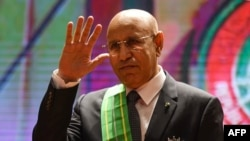 Le président de la Mauritanie Mohamed Ould Cheikh El Ghazouani lors de sa prestation de serment, le 1er août 2019 à Nouakchott, en Mauritanie. (Photo by Seyllou / AFP)