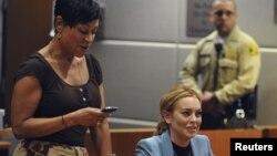 La actriz Lindsay Lohan en la corte de Airport Branc.