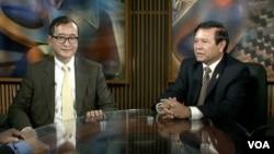 Opposition leaders Sam Rainsy and Kem Sokha in VOA Studio in Washington, DC.