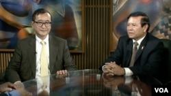 Opposition leaders Sam Rainsy and Kem Sokha in VOA studio In Washington, DC, file photo.