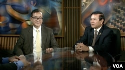 Opposition leaders Sam Rainsy and Kem Sokha in VOA Studio In Washington, DC.