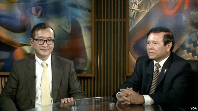 Opposition leaders Sam Rainsy and Kem Sokha in studio interviews with VOA Khmer in Washington, DC