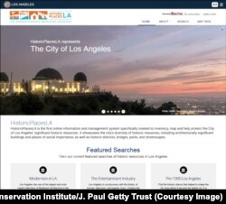 Screenshot of HistoricPlacesLA, the Los Angeles Historic Resources Inventory, powered by Arches.