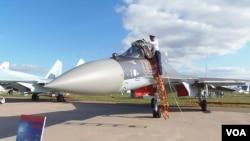 2013年8月莫斯科國際航展上的蘇-35S戰機(美國之音 白樺)