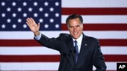 美國共和黨總統候選人競選參選人羅姆尼星期二在威斯康辛州的初選中宣佈獲勝