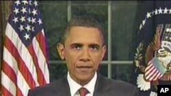 奥巴马总统周二晚间在白宫椭圆形办公室发表讲话