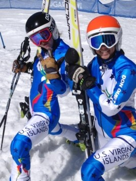 The two Olympic-caliber skiers who race for the US Virgin Islands both have Idaho ties. Jasmine Campbell (left), here with Veronica Gaspar, received the one slot in Sochi allocated to the US territory.