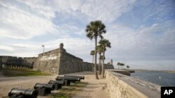 FILE - In this Feb. 3, 2015, photo, the Castillio de San Marcos fort, built over 450 years ago, is separated from the Matanzas River by a sea wall in St. Augustine, Florida.