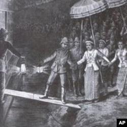 末代缅王锡袍和王后被逐出宫流亡印度。