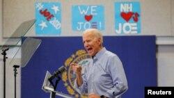 El candidato presidencial demócrata de los EE. UU. y exvicepresidente Joe Biden habla en una parada de campaña en Manchester, New Hampshire, 13 de mayo de 2019.