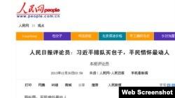 人民网12月30日就习近平吃包子发表评论员文章 (人民网截图)