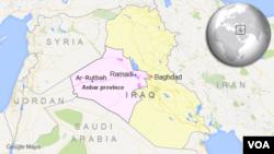 Peta wilayah Irak dan lokasi provinsi Anbar, kota Ramadi dan Ar-Rutbah.