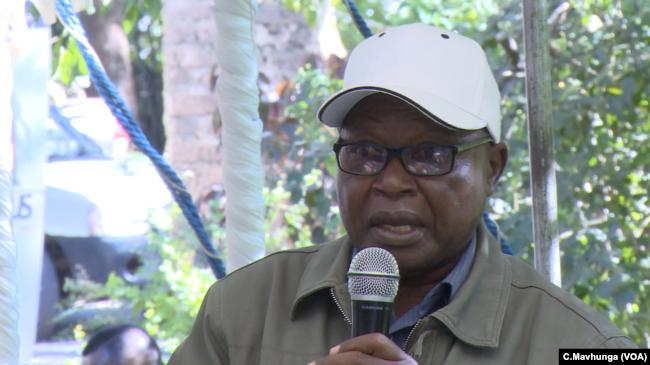 Ronnie Masango, who grows tobacco, spoke at the public meeting in Chinhoyi, Zimbabwe, May 10, 2019.
