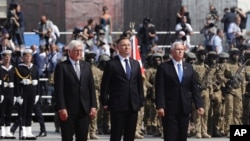 Američki potpredsednik Majk Pens, poljski predsednik Andžej Duda i nemački predsednik Frank-Valter Štajnmajer na komemoraciji u Poljskoj