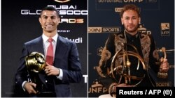 Foto montagem dos jogadores Cristiano Ronaldo (esq) e Neymar Jr. (dir)