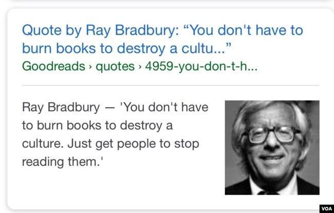 """Câu trích dẫn của Ray Bradbury (DOB) """"You don't have to burn books to destroy a culture. Just get people to stop reading them."""" bên cạnh là chân dung tác giả. [nguồn: internet, sưu tầm Ngọc Dung]"""