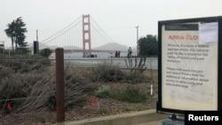 ປ້າຍທີ່ຢູ່ໃກ້ໆກັບຂົວ Golden Gate ບອກໃຫ້ຮູ້ວ່າດິນແດນ ຂອງລັດຖະບານກາງ ຖືກປິດ ຍ້ອນການອັດລັດຖະບານບາງ ສ່ວນ ໃນນະຄອນ San Francisco ວັນທີ 23 ທັນວາ 2018.
