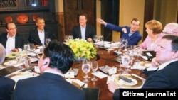 تبادل نظرهای رهبران هشت قدرت صنعتی جهان در باره برنامه اتمی ایران و ناآرامی های سوریه در میهمانی شام پرزیدنت اوباما آغاز شد