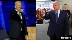 លោក Joe Biden (ឆ្វេង) ត្រូវបានបណ្ដាញព័ត៌មានព្យាករណ៍ថាឈ្នះការបោះឆ្នោតប្រធានាធិបតីឆ្នាំ២០២០ និងលោក Donald Trump ប្រធានាធិបតីសហរដ្ឋអាមេរិកនាពេលបច្ចុប្បន្ន។