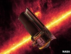 The Spitzer Space Telescope whizzes in front of a brilliant, infrared view of the Milky Way galaxy's plane in this artistic depiction. (NASA/JPL)