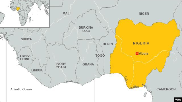 Map of Nigeria, Africa