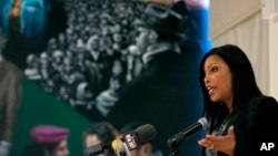 Ilyasah Shabazz, daughter of Malcolm X, speaks at a New York gathering about her father and family on the anniversary of his death, Feb. 21, 2015.