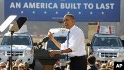 Presiden AS Barack Obama di fasilitas gas alam cair di Las Vegas, Nevada.