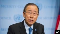 Le secrétaire générale des Nations unies Ban Ki-moon lors d'une conférence de presse au siège des Nations unies à New York le 9 septembre 2016.