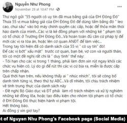 """""""Tối hậu thư"""" của nhà báo-nhà văn Nguyễn Như Phong gửi đến 55 người dùng bằng giả (ảnh chụp màn hình hôm 1/12/2020)"""