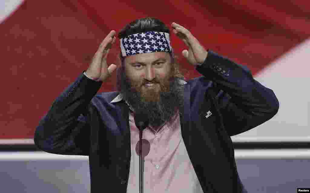 """Willie Robertson, star de la télévision du spectacle """"Duck Dynasty"""", lors de la Convention républicaine à Cleveland, Ohio, le 18 juillet 2016."""