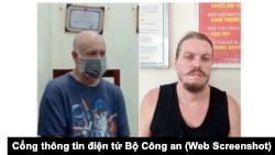 Hai đối tượng bị Mỹ truy nã, Wade Astle (trái) và Hammett Andrew, vừa được Việt Nam trao trả để di lý về Hoa Kỳ từ sân bay Nội Bài. (Ảnh chụp màn hình Cổng thông tin điện tử Bộ Công an)