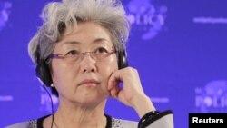 Bà Phó Oánh, chủ nhiệm Ủy ban Đối ngoại Quốc hội Trung Quốc. REUTERS/Herwig Prammer