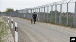 FILE - A police officer with a dog patrols the border fence on the Hungarian-Serbian border near Roszke, 180 kms southeast of Budapest, Hungary, April 28, 2017. Hungary has asked the EU to pay half of the cost of the fence built to keep illegal immigrants