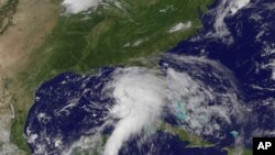 This NOAA satellite image shows shower and thunderstorm activity developing around an area of low pressure spinning in the Gulf of Mexico, June 23, 2012.