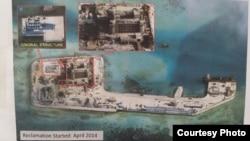 2014年4月菲律宾军方图像显示中国在南沙造岛。