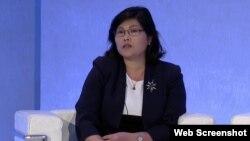 영국에 정착한 탈북자 박지현 씨가 15일 런던에서 열린 국제회의에서 중국 내 인신매매와 강제북송 실태를 고발했다.