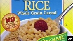 Label yang menyatakan tidak ada kandungan bahan makanan rekayasa genetika (GMO) pada kemasan sebuah produk makanan.