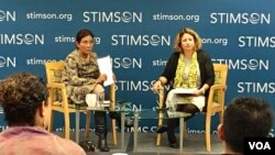 Menteri KKP Susi Pudjiastuti bicara di Stimson Center, Washington DC, Jumat pagi (12/5).