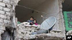许多儿童被困在叙利亚城市阿勒颇