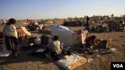 Para pengungsi dari Abyei di Khartoum, Sudan Utara, menunggu transportasi kembali ke daerah mereka, 9 Januari lalu.