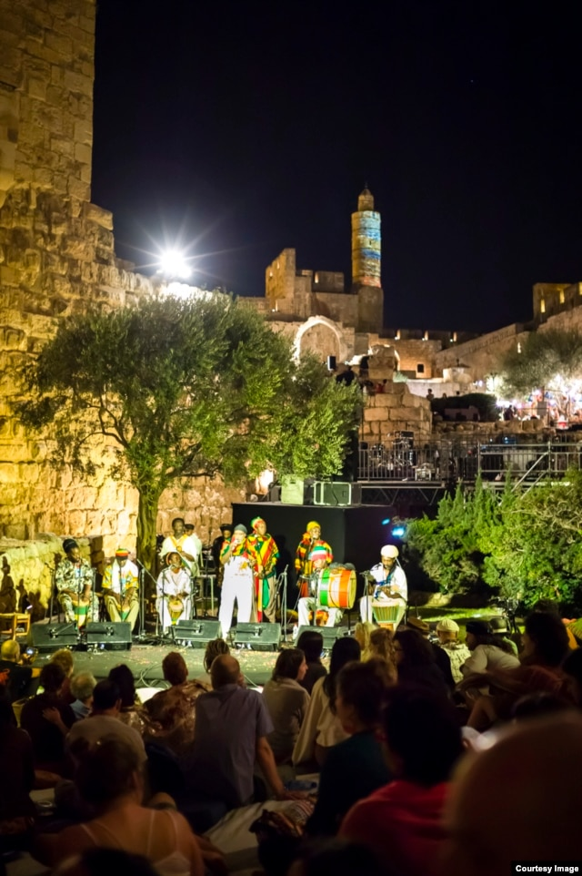 Vivien Jones and Drums of Defiance perform at the medieval fortress, the Tower of David, in the heart of Old Jerusalem. (Courtesy Noam Chojnowski/Jerusalem Season of Culture)