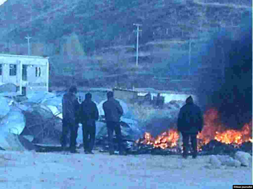 January 9, 2013 photograph taken by the local people. Qinghai Huangnan authorities burned confiscated satellite TV receivers.