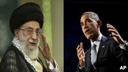 លោក  Ayatollah Ali Khamenei (ខាងឆ្វេង) និងលោក Barack Obama (ខាងស្តាំ)។ របាយការណ៍មួយរបស់កាសែត The Wall Street Journal បានឲ្យដឹងថាមេដឹកនាំកំពូលនៃប្រទេសអ៊ីរ៉ង់ និងលោកប្រធានាធិបតីស.រ.អា.បានផ្ញើសំបុត្រឆ្លងឆ្លើយគ្នានៅពេលដែលភាគីទាំងពីរខិតខំព្យាយាមធ្វើឲ្យសម្រេចកិច្ចព្រមព្រៀងបរមាណូមួយ។