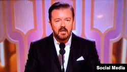 Ricky Gervais, pembawa acara tahunan Golden Globes Award ke-73di Los Angeles (10/1).