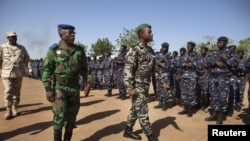 Ivory Coast army chief-of-staff Soumaila Bakayoko (L) and Malian army chief-of-staff Ibrahima Dahirou Dembele (C) inspect Malian troops at an air base in Bamako, Mali, January 16, 2013.