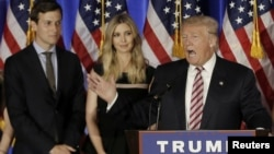 FILE - Donald Trump speaks as his son-in-law, Jared Kushner, and his daughter, Ivanka Trump, listen at a campaign event at the Trump National Golf Club Westchester in Briarcliff Manor, N.Y., June 7, 2016.