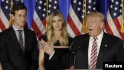 Presiden AS Donald Trump bersama Jared Kushner (kiri) dan Ivanka Trump (foto: dok).