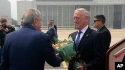 美國國防部長馬蒂斯2018年6月26日抵達北京訪問(美聯社)