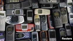 A collection of mobile phones.