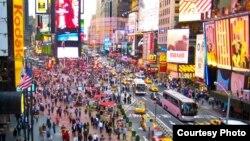 美國紐約時報廣場一景。